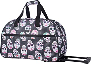 Betsey Johnson Luggage Designer Pattern Suitcase Wheeled Duffel Carry On Bag (Paris Love) (One Size, Skull Party)