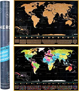 Deluxe Scratch Off Map Of The World - Extra Large, 35% Bigger Than Other Maps - Amazing Detail, Premium Quality Paper & Easy Scratch Design - Bonus Scratching Accessories + Travel Guide 33 x 23 Inches