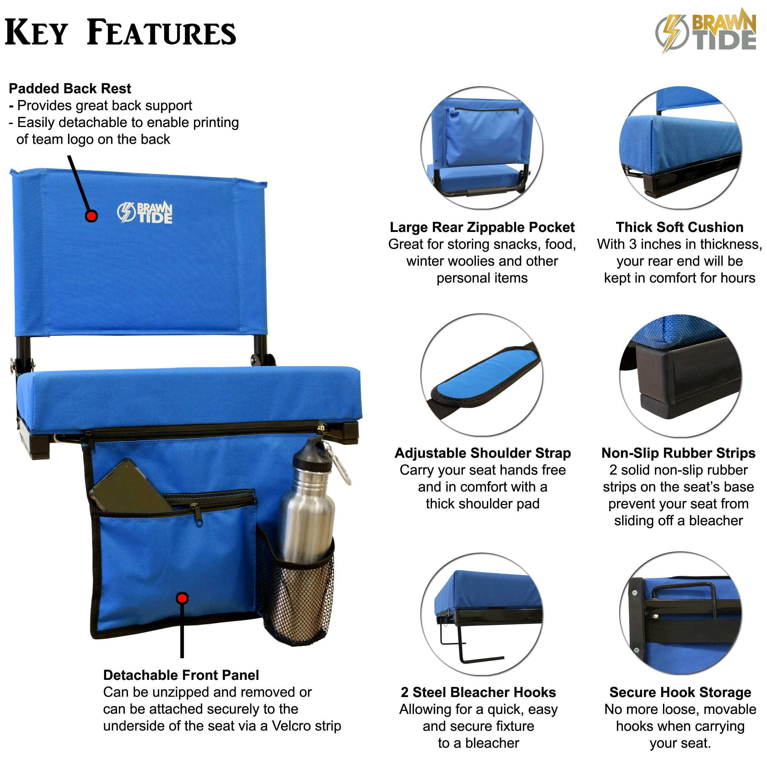 Brawntide Wide Stadium Seat Chair Light Carrying Handle Extra Thick Padding Shoulder Strap 2 Bleacher Hooks Compact Sporting Events 3 Storage Pockets Ideal for Back Support
