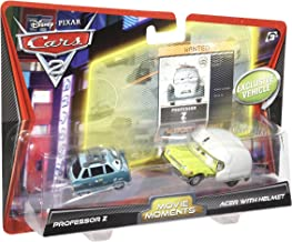 Disney Mattel Cars 2 Movie Moments - Juego de Coches en Miniatura (Profesor Z y Acer con Casco)