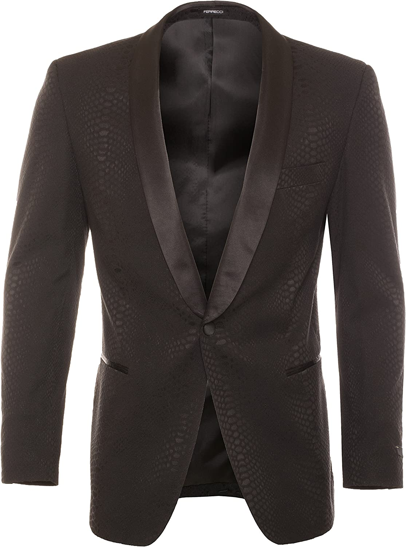 Ferrecci Men's Ash Snake Skin Slim Fit Tuxedo Blazer