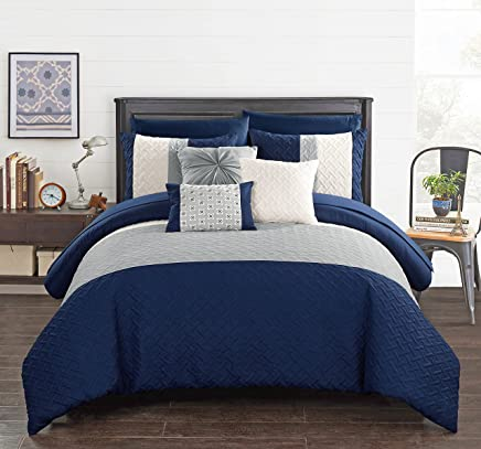featured product Chic Home Osnat 10 Piece Comforter Set Color Block Quilted Embroidered Design Bag Bedding – Sheets Decorative Pillows Shams Included,  King Navy