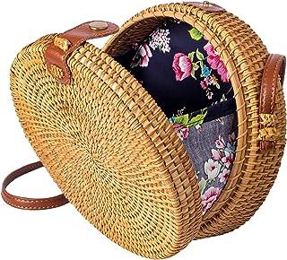 Rattan Bags For Women Straw Wicker Purse Round Crossbody Shoulder Summer Woven