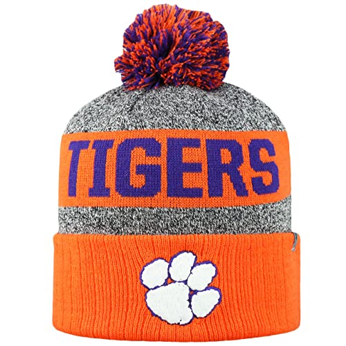 09ed7925c92419 Top of the World NCAA Arctic Striped Cuffed Knit Pom Beanie Hat