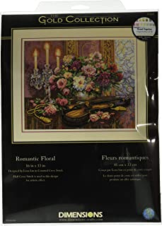 Dimensions Gold Collection Counted Cross Stitch Kit, Romantic Floral, 14 Count Beige Aida, 13'' x 16''