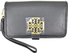 Tory Burch Womens 39062 Britten Smartphone Wallet, Black/Rolled Gold