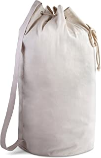 Canvas Duffel Bag - Drawstring with Leather Closure and Shoulder Strap for Easy Carrying. The Strong Canvas Material Makes This a Reliable Duffle Bag for Laundry, Travel or Camping. (28 x 14 Inches)