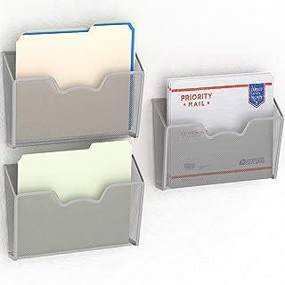 3 Pack – SimpleHouseware Wall Mount Single Pocket File Organizer Holder, Silver