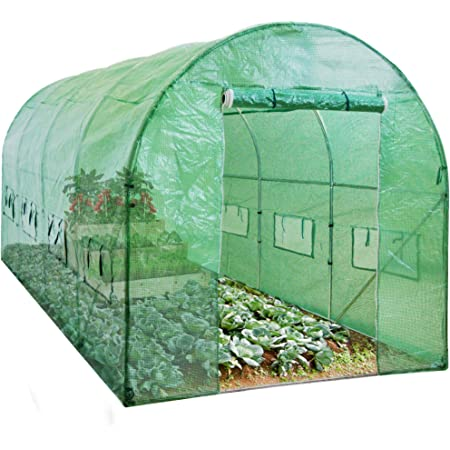 Best Choice Products 15x7x7ft Walk-in Greenhouse Tunnel, Garden Accessory Tent for Backyard, Home Gardening w/ 8 Roll-Up Windows, Zippered Door
