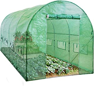 Best Choice Products 15x7x7ft Walk-in Greenhouse Tunnel, Garden Accessory Tent for Backyard, Home Gardening w/ 8 Roll-Up W...