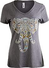 Elephant Aesthetic | Ornate Stylized Line Art Yoga V-Neck T-Shirt for Women