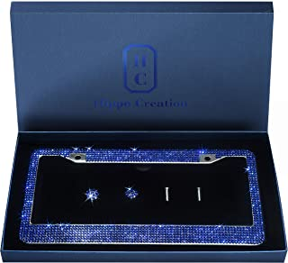 1 Pack Luxury Handcrafted Bling Blue Rhinestone Premium Stainless Steel License Plate Frame with Gift Box   1000+ pcs Finest 14 Facets SS20 Blue Rhinestone Crystal   Anti-Theft Screw Cap