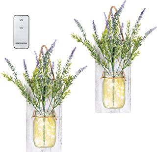 TenXVI Designs Remote Controlled Hanging Mason Jar Sconces - Set of 2 - Lavender Flowers, LED Fairy Lights – Perfect Shabby Chic Decorations, Farmhouse Decorations and Mason Jar Decorations