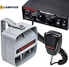 LAMPHUS SoundAlert Siren & Slim Speaker PA System [100W] [6 Modes] [Heavy Duty] [120-130dB] [Microphone] [Hands-Free] [Dual 20A Switches] Emergency Horn Sound System for Police Cars & Fire Trucks