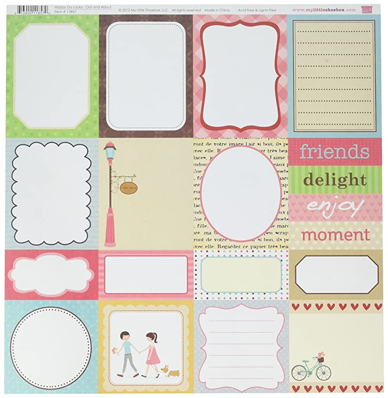 My Little Shoebox Happy Go Lucky Out and About Double Sided Pattern Paper Pack, 25-Sheet, 11.97 by 11.94-inch