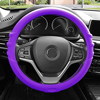 FH Group FH3003PURPLE Purple Steering Wheel Cover (Silicone W. Grip & Pattern Massaging grip Purple Color-Fit Most Car Truck Suv or Van)