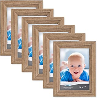 Icona Bay 5x7 Picture Frame (6 Pack, Dark Oak Wood Finish), Photo Frame 5 x 7, Composite Wood Frame for Walls or Tables, Set of 6 Cherished Memories Collection