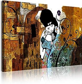 DekoArte Cuadros Modernos Impresión de Imagen Artística Digitalizada, Lienzo Decorativo para Tu Salón o Dormitorio, Estilo Abstractos Arte Gustav Klimt El Beso, multi bronces, 1 pieza (120x80x3cm)