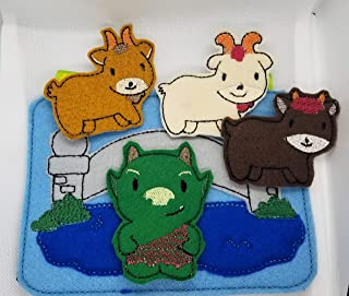 Billy Goat Gruff and Grumpy troll under bridge Finger puppet set with Carry Case