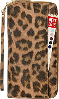 Womens Passport Wallet Travel RFID Passport Holder for Women Clutch Wristlet Id (Leopard)