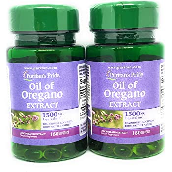Puritan's Pride Oil of Oregano Extract 1500 mg Rapid Release Softgels 180 Count (2 Pack) (2)