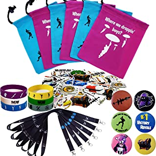 Gaming Party Supplies Set - 96 Pack Video Game Birthday Party favors set, Reusable Nylon Drawstring Gift Bags, Gaming Lanyards, Pin Badges, Bracelets & Gamer Stickers