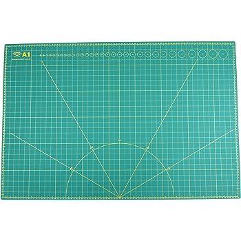 Schneidematte A1 = 60x90cm selbstheilend, in grün, beidseitig bedruckt: cm & inch
