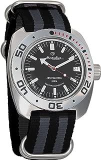 Vostok Amphibian Automatic Mens WristWatch Self-winding Military Diver Amphibia Ministry Case Wrist Watch #710662 (black+grey)