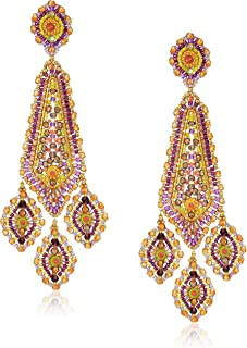 Miguel Ases Large Inverted Kite Center Swarovski Triple Drop Chandelier Post Drop Earrings