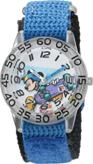 Disney Boy's 'Mickey Mouse' Quartz Plastic and Nylon Watch, Color:Blue (Model: W002995)