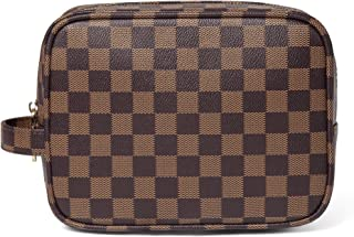 Daisy Rose X Katy Roach Luxury Checkered Make Up Bag | PU Vegan Leather Cosmetic toiletry Travel bag