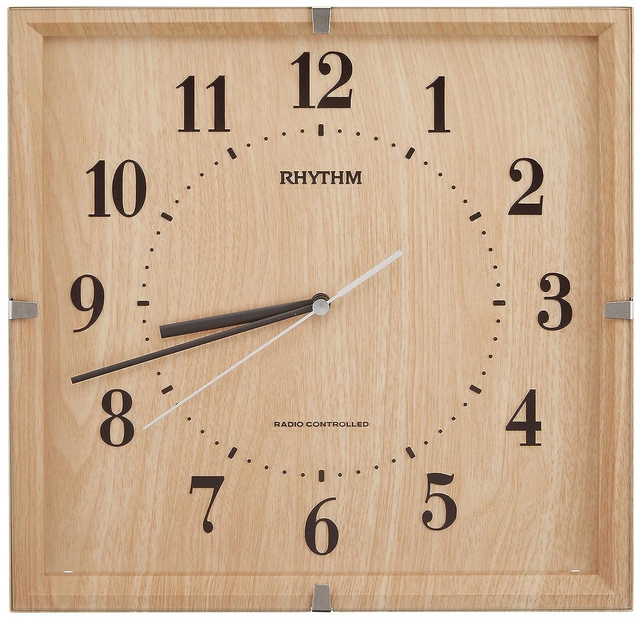 機関アボート静めるリズム時計 掛け時計 電波 アナログ ライブリーエミリ 連続秒針 インテリア モデル 茶 (薄茶木目仕上げ) RHYTHM 8MY502SR07