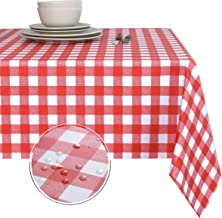 Obstal 100% Waterproof PVC Table Cloth, Oil-Proof Spill-Proof Vinyl Rectangle Tablecloth, Wipeable Table Cover for Outdoor...