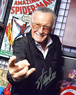 Stan Lee Amazing Spiderman Signed/Autographed 8x10 Glossy Photo. Includes Fanexpo Certificate of Authenticity and Proof of signing. Entertainment Autograph Original.