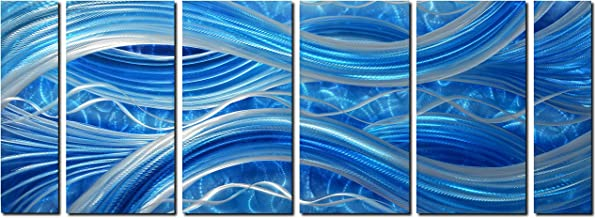 MyArton Handmade Abstract Metal Wall Art with Soft Color, Large Scale Decor in Blue Line Design, 3D Artwork for Indoor Outdoor Wall Decorations, 6-Panels Metal Art Measure 24