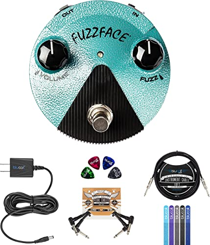 """wholesale Dunlop online FFM3 Jimi Hendrix Fuzz Face Mini Distortion Pedal Bundle with Blucoil 4x Guitar Picks, 10' Straight Instrument Cable (1/4""""), Slim 9V Power Supply AC Adapter, 2x Patch Cables, and new arrival 5x Cable Ties sale"""