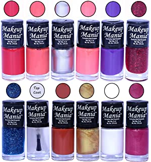 Makeup Mania HD Color Attractive Nail Polish Set of 12 Pcs in Unique Combo of Multicolor Nail Paints (MM-132), 400 g