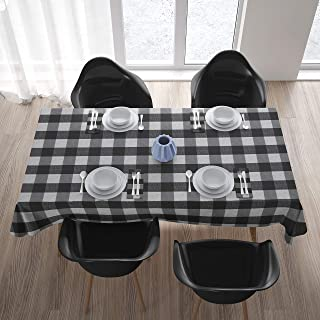 Encasa Homes Tablecloth for 4 to 6 Seater Large Centre Dining Table - Black Checks - Yarn Dyed Fabric, Mercerised, Washable, Rectangular for Home Hotel & Restaurant