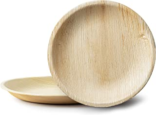 "8"" Round Disposable Palm Leaf Plates – 100% Compostable Bamboo-Style Natural Palm Leaf Party Plates– Eco-friendly & Biodeg..."