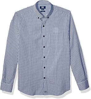 Cutter & Buck Men's Long Sleeve Anchor Gingham Button Up Shirt, Indigo, XXXL