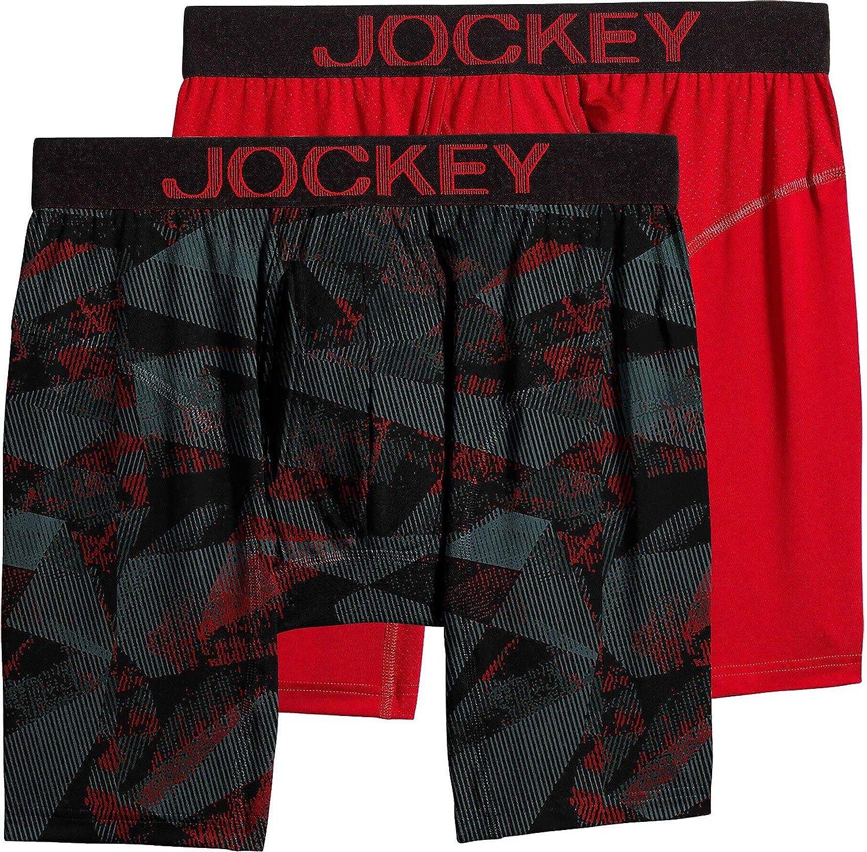 Jockey Mens 2-pk. RapidCool Mid-Way Briefs Medium Fusion red/Black
