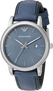Emporio Armani Men's Blue Dial Leather Band Watch - AR1972