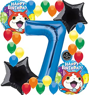 Yokai Watch Birthday Party Supplies Number Balloon Decoration Bundle For (7th Birthday)