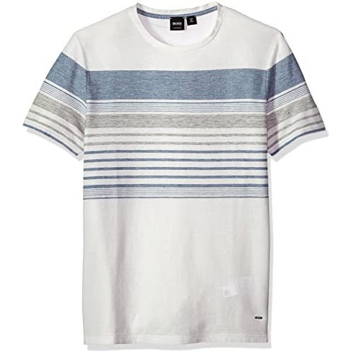 70e7e4e5976 BOSS Orange Men s Cotton Linen Mutli Color Melange Stripe Tee