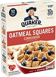 Quaker Oatmeal Squares, Cinnamon, Breakfast Cereal, 14.5 oz Box