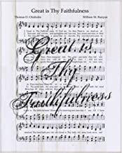 """LifeSong Milestones Sheet Music Wall Art Plaque Gifts with Hymn and Song Lyrics Great is Thy Faithfulness - 12"""" x 15"""" Wooden Hanging Sign (White Distressed)"""