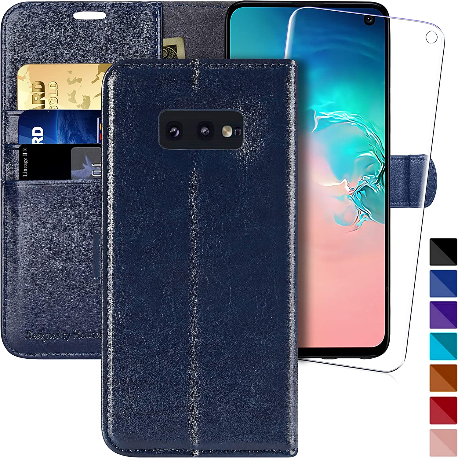 Galaxy s10e Wallet Case, 5.8 inch,MONASAY [Included Screen Protector] Flip Folio Leather Cell Phone Cover with Credit Card Holder for Samsung Galaxy s10e