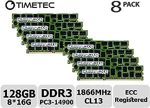 Timetec Original M393B2G70EB0-CMA 128GB KIT (8x16GB) DDR3 1866MHz PC3-14900 Registered ECC 1.5V CL13 2Rx4 Dual Rank 240 Pin RDIMM Server Memory RAM Module Upgrade (128GB KIT (8x16GB))
