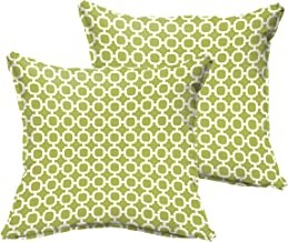 Mozaic Company Indoor/ Outdoor 20-inch Flange Pillow, Pear Green Chainlink, Set of 2