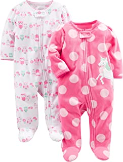 Baby Girls' 2-Pack Fleece Footed Sleep and Play